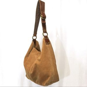 Lucky Brand Tan Camel Color Suede Brown Leather